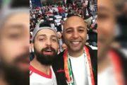 سلفی محسن افشانی با آرش در بازی ایران و عراق در ورزشگاه آل مکتوم