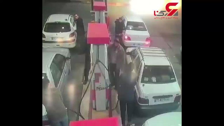 فیلم آتش زدن کارگر پمپ بنزین در کرج