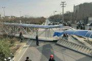 فیلم سقوط وحشتناک یک پل عابر پیاده در مشهد